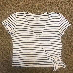 Madewell stripped tie blouse